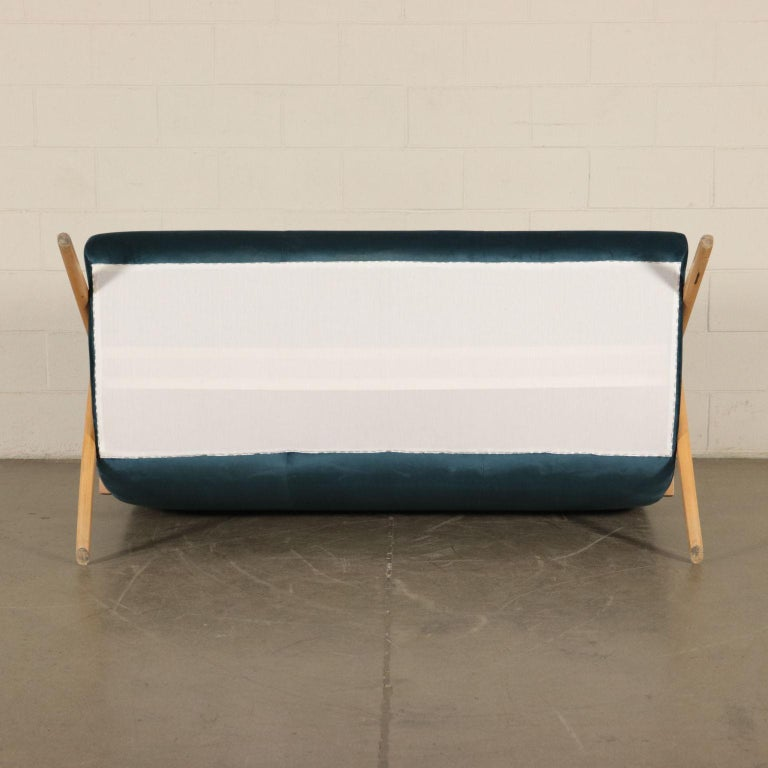Sofa, Foam Velvet and Beech, Italy 1950s Italian Prodution For Sale 6