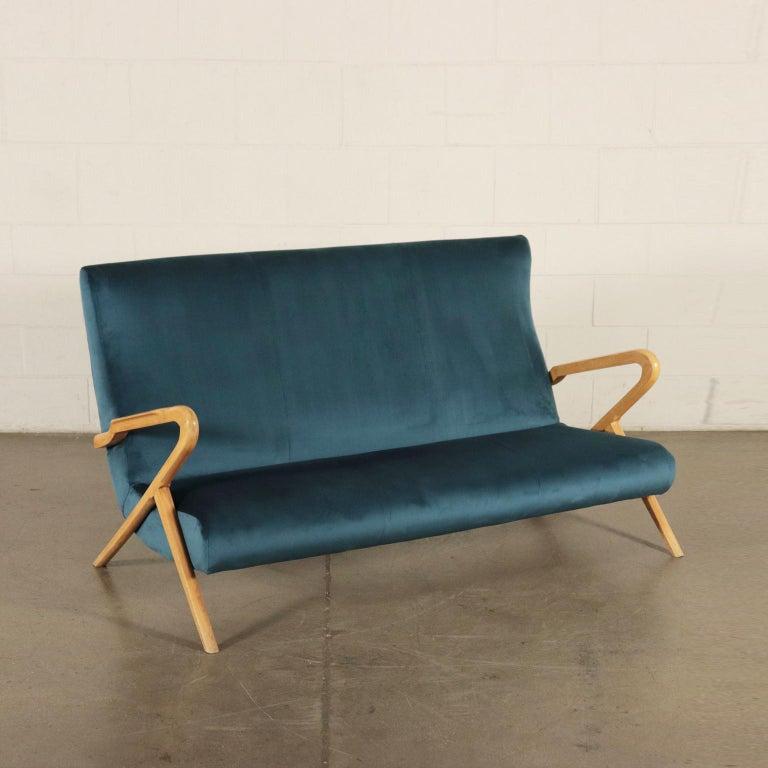 Sofa, Foam Velvet and Beech, Italy 1950s Italian Prodution For Sale 7