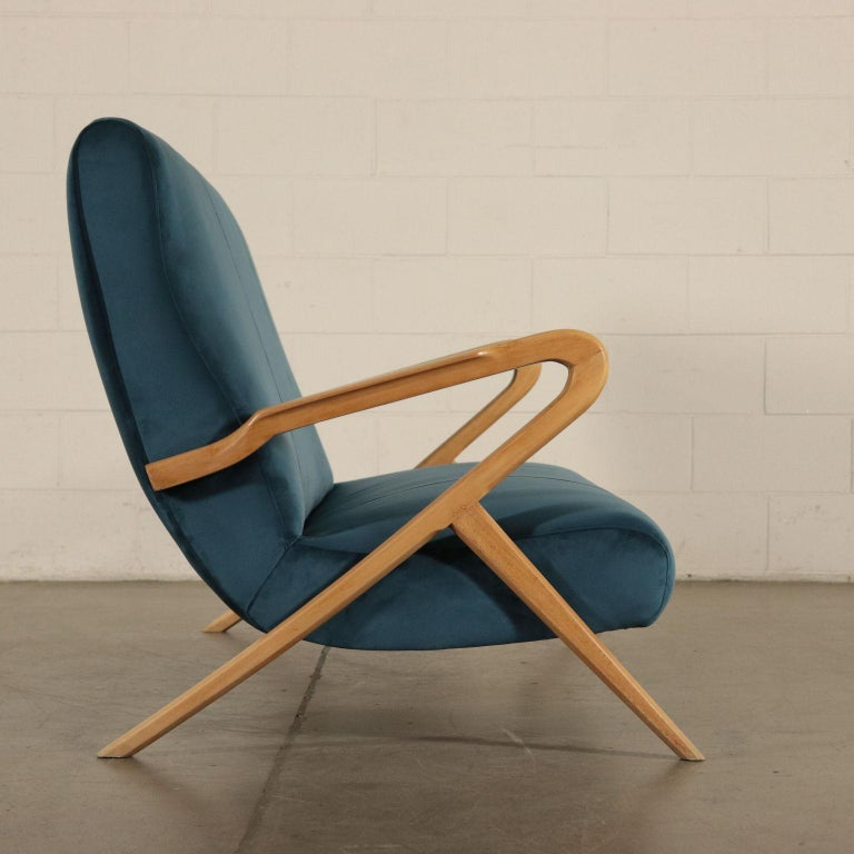 Mid-Century Modern Sofa, Foam Velvet and Beech, Italy 1950s Italian Prodution For Sale