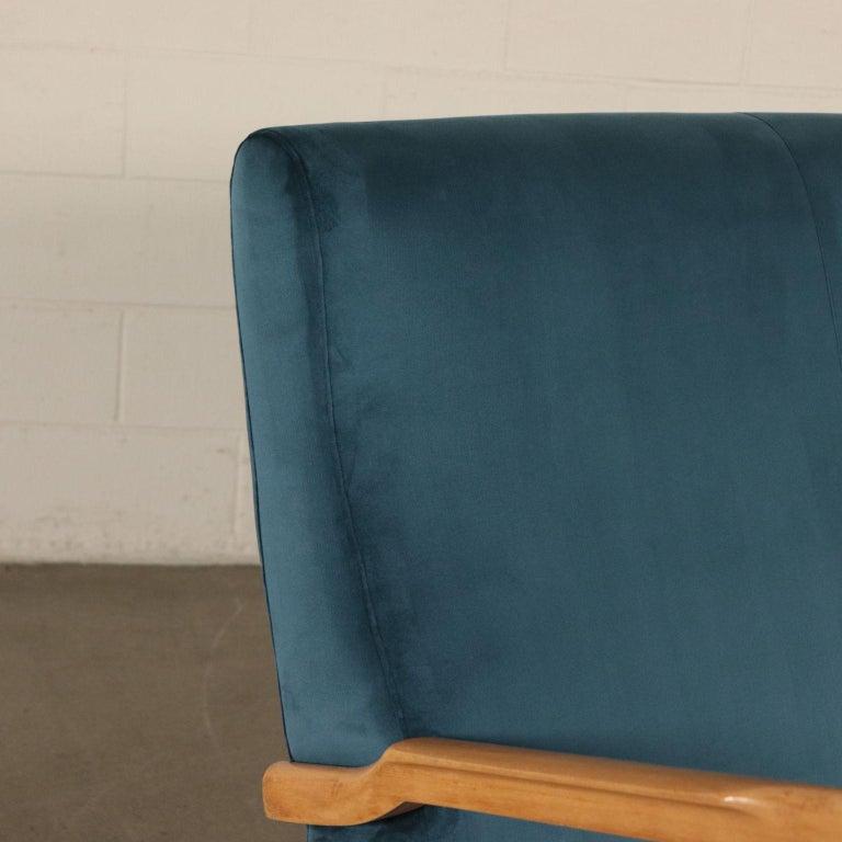 Other Sofa, Foam Velvet and Beech, Italy 1950s Italian Prodution For Sale