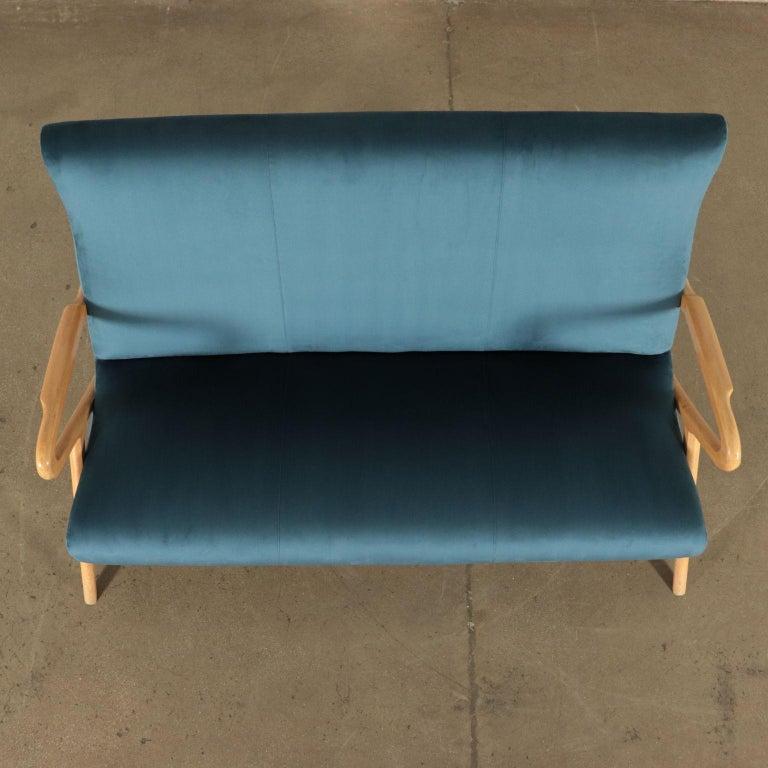 Sofa, Foam Velvet and Beech, Italy 1950s Italian Prodution For Sale 3