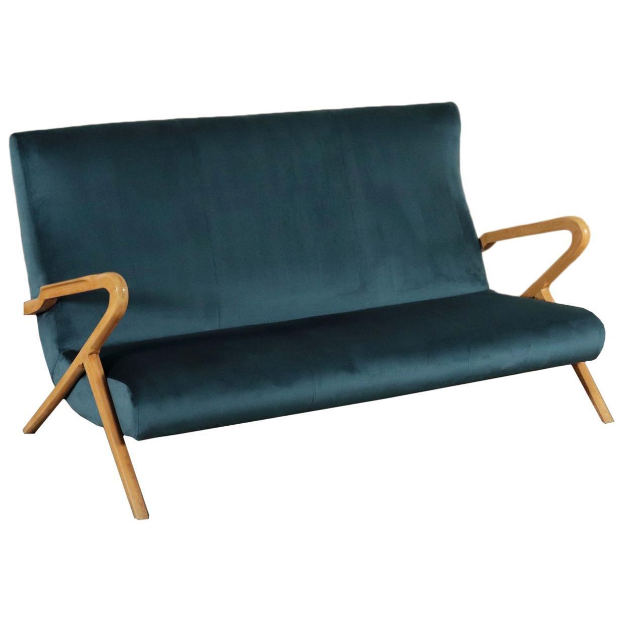 Sofa, Foam Velvet and Beech, Italy 1950s Italian Prodution