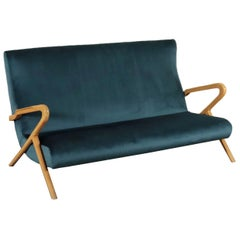 Sofa, Foam Velvet and Beech, Italy 1950s Italian Prodution