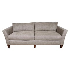 Midcentury Sofa in Belgian Linen with Channel Quilting and Cushions in Down