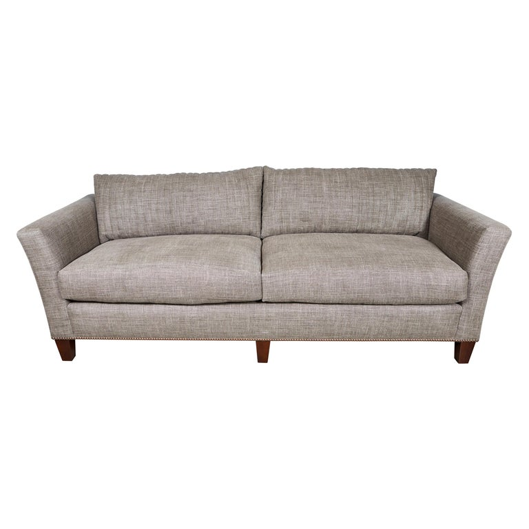 Midcentury Sofa In Belgian Linen With Channel Quilting And Cushions Down For