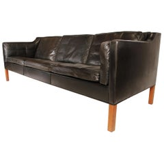 Sofa in Black Leather by Borge Mogensen