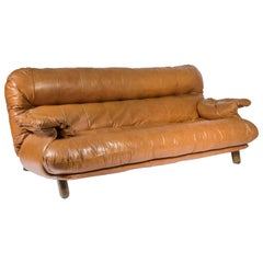 Sofa in Cognac Leather and Wood