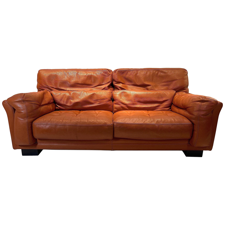 Sofa in Cognac Leather by Roche Bobois