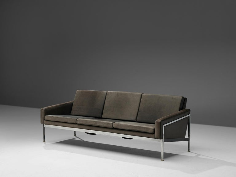 Three-seat sofa, leather and chrome, Scandinavian, 1970s. 