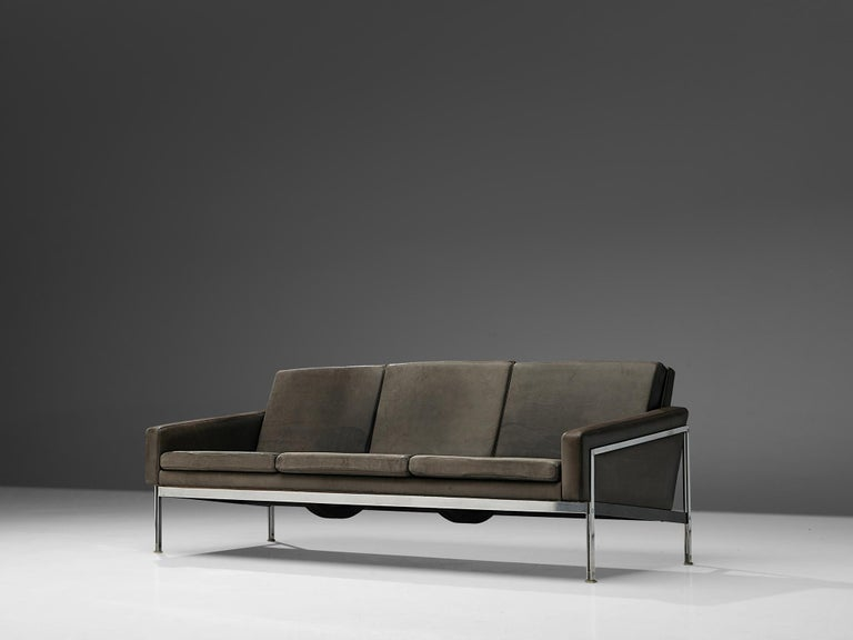 Mid-Century Modern Sofa in Grey Leather and Chrome For Sale