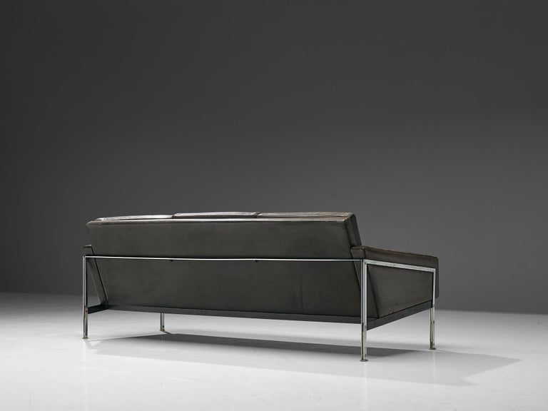 Scandinavian Sofa in Grey Leather and Chrome For Sale