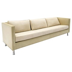 Sofa in Off White /Beige Leather with Mohair Cushions by Niedermaier, Chicago