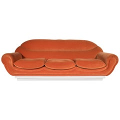 Sofa in Orange Fabric, 1970