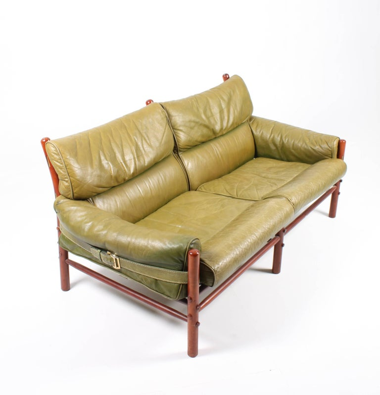 Danish Sofa in Patinated Leather by Arne Norell For Sale