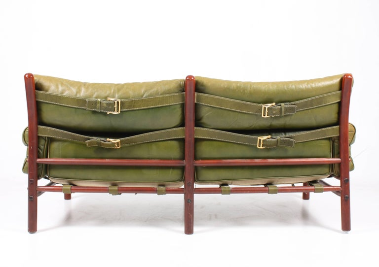 Sofa in Patinated Leather by Arne Norell In Excellent Condition For Sale In Lejre, DK