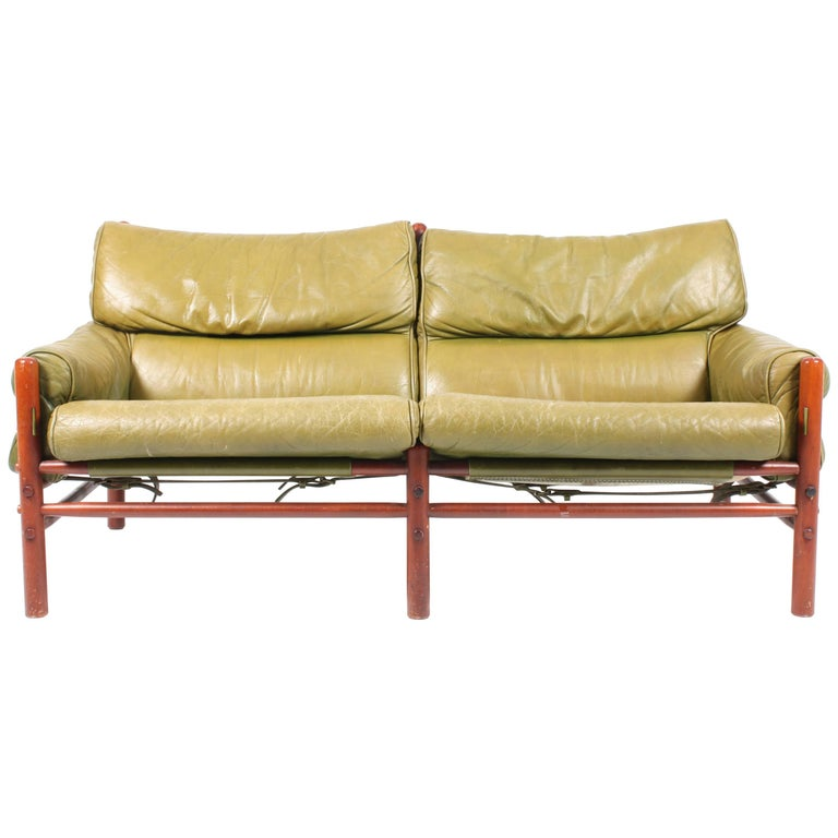 Sofa in Patinated Leather by Arne Norell For Sale