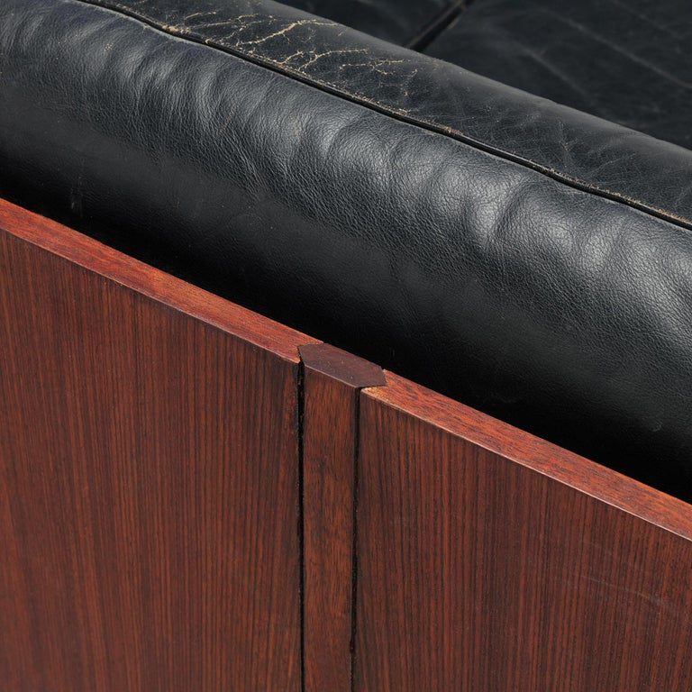 Sofa in Rosewood and Leather For Sale 4