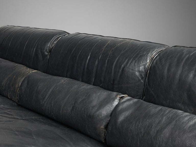 Sofa in Rosewood and Leather For Sale 6