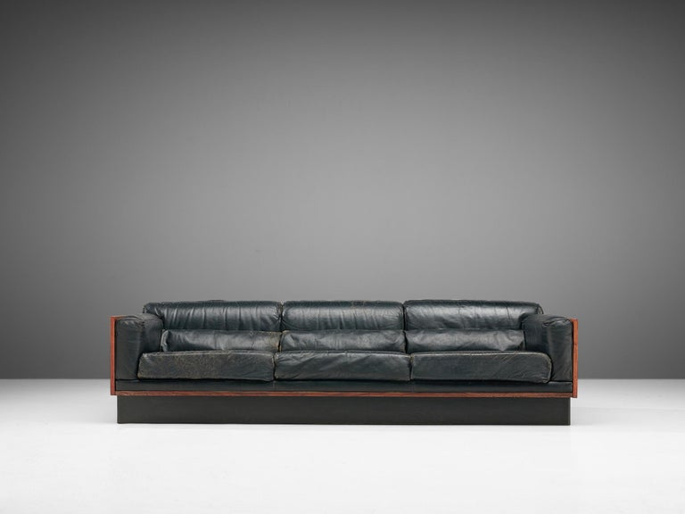 Belgian Sofa in Rosewood and Leather For Sale