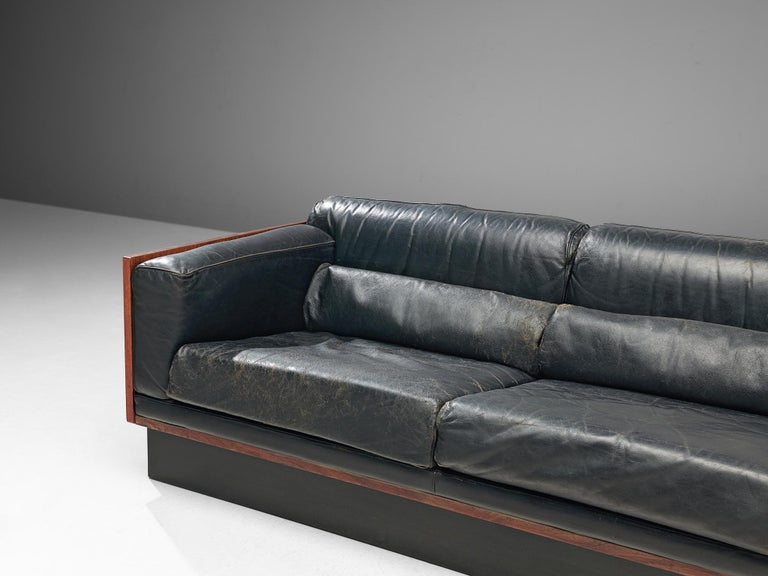 20th Century Sofa in Rosewood and Leather For Sale