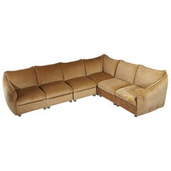 Sofa in Smooth Velvet Camel Color Attributed to Cassina Mid-Century Modern 1970s