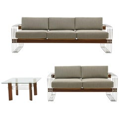 Sofa, Loveseat und Beistelltisch von Heinz Meier, restauriert, Maharam grauer Stoff