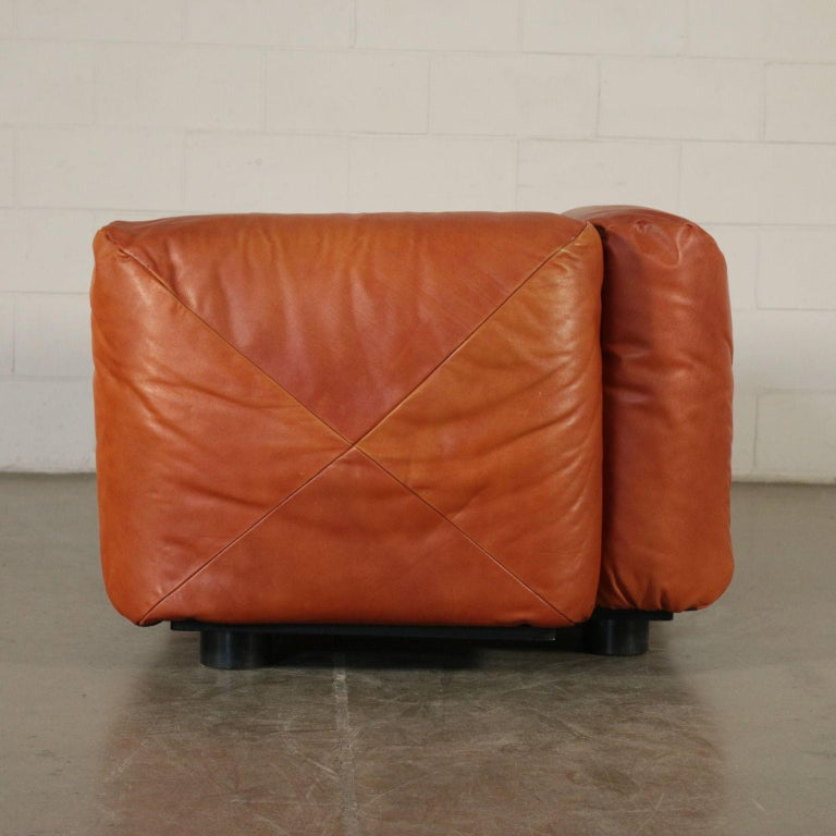 Sofa Mario Marenco Wood Foam Leather Metal, 1970s 3