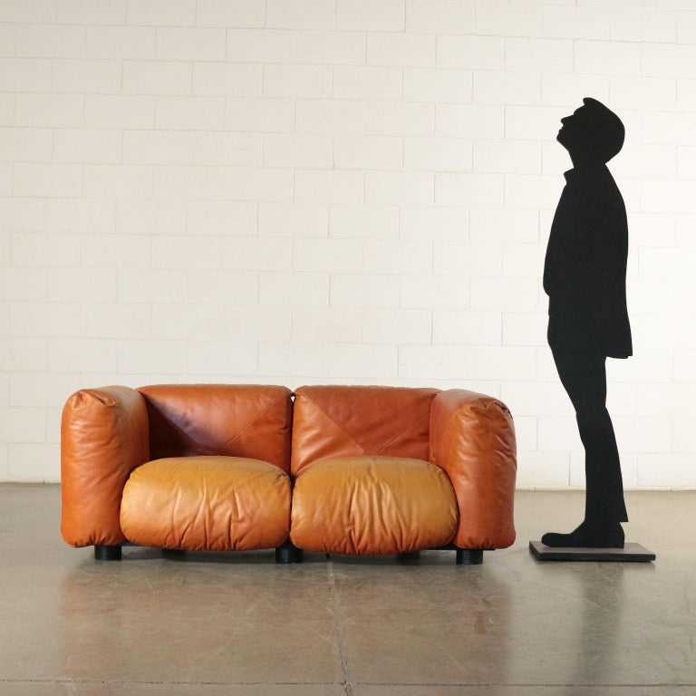 Sofa, padding with foam padding pillows, leather upholstery, wood base with metal structure.