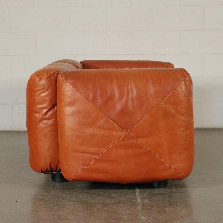 Mid-Century Modern Sofa Mario Marenco Wood Foam Leather Metal, 1970s