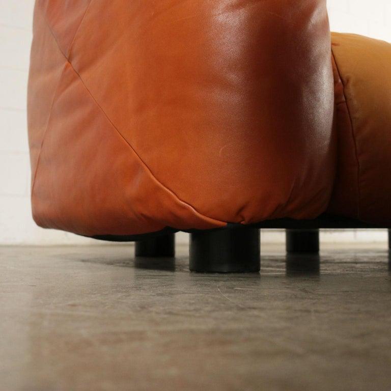 Late 20th Century Sofa Mario Marenco Wood Foam Leather Metal, 1970s