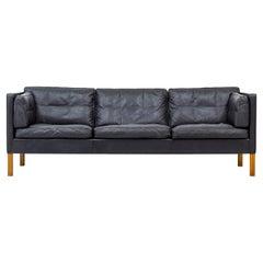 Sofa Model 2443 in Leather by Børge Mogensen, Fredericia, Denmark