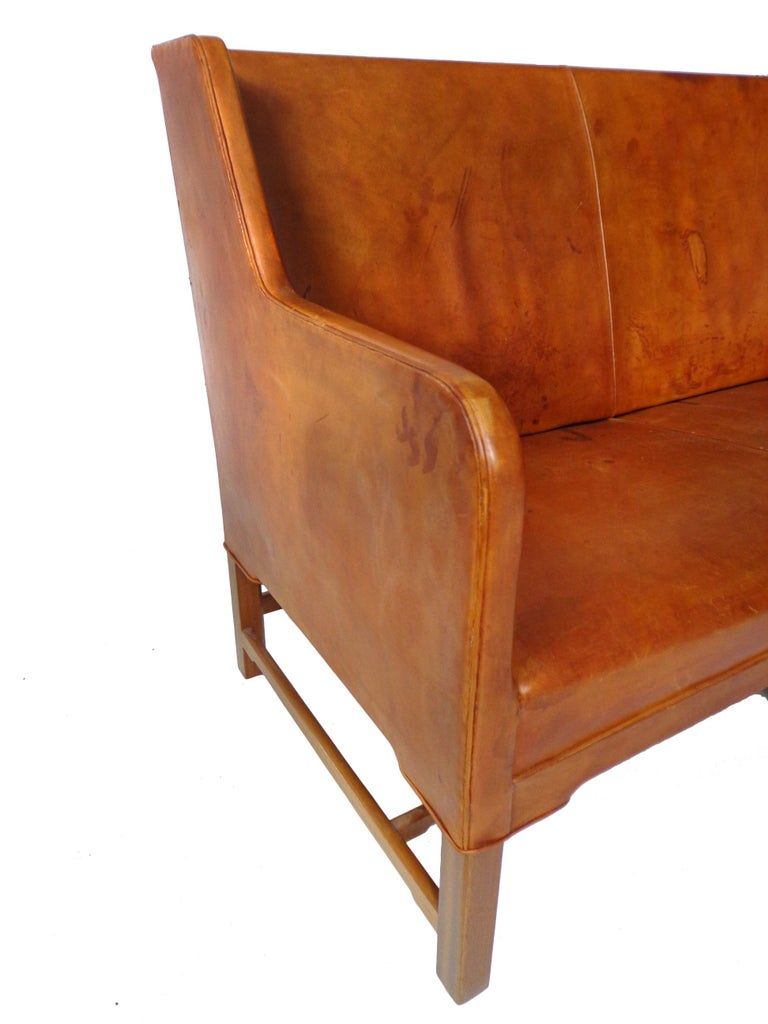 Mid-20th Century Sofa Model 5011 in Original Cognac Leather by Kaare Klint for Rud Rasmussen For Sale