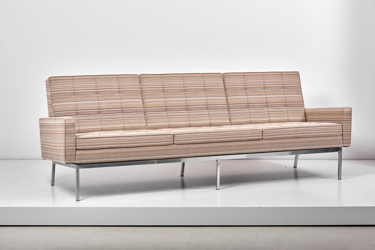 Sofa by Florence Knoll for Knoll International  The sofa is new upholstered in Knoll textile fabric.