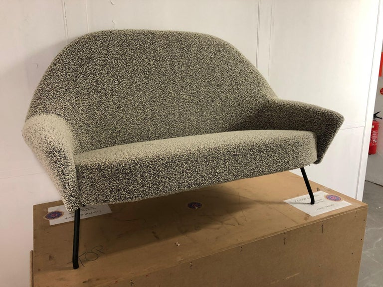 Sofa model 770 by Joseph-André Motte for Steiner, 1958. Black metal-lacquered feet. Recently reupholstered with the Bisson Bruneel fabric
