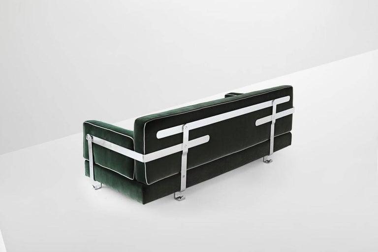 "Luigi Caccia Dominioni(1913-2016)  Sofa model ""Fasce Chromate P11"" Manufactured by Azucena Italy, 1963 Chrome-plated steel, fabric  Measurements: 205 cm x 80 cm x 73 H cm. 80.7 inches x 31.5 inches x 28.7 H"