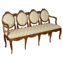 Sofa Neoclassical Walnut Padded Emilia Romagna, Italy, 2nd Half 1700