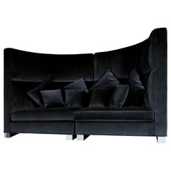 Sofa New Rotondo, Black Smooth Velvet, Made in Italy