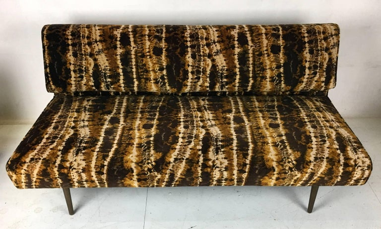 Mid-Century Modern Sofa or Bench with Brass Legs by Edward Wormley for Dunbar, Larsen Velvet For Sale