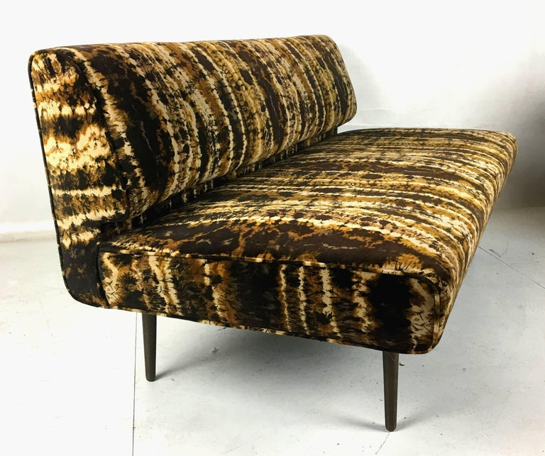 American Sofa or Bench with Brass Legs by Edward Wormley for Dunbar, Larsen Velvet For Sale