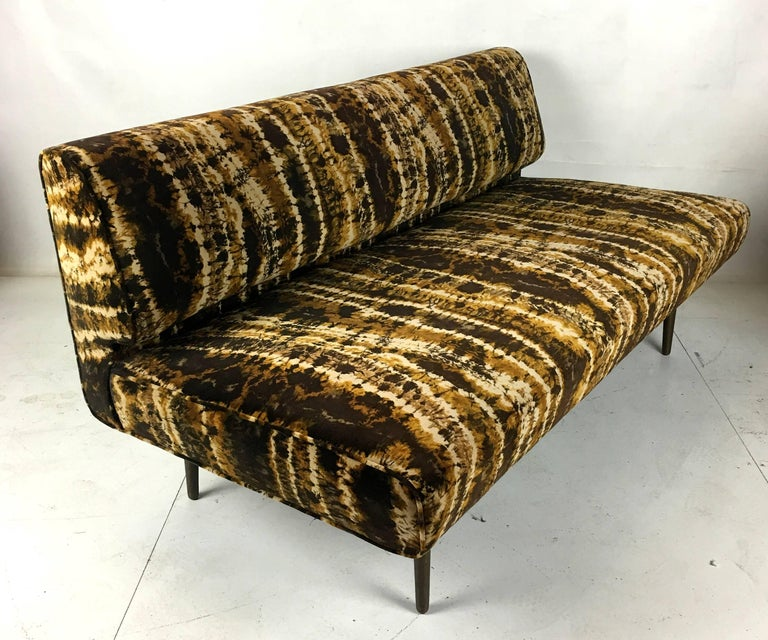 Mid-20th Century Sofa or Bench with Brass Legs by Edward Wormley for Dunbar, Larsen Velvet For Sale