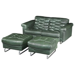 Sofa Reclining Pair of Ottomans, Green, Leather, Robert Haussmann, De Sede, DS-P