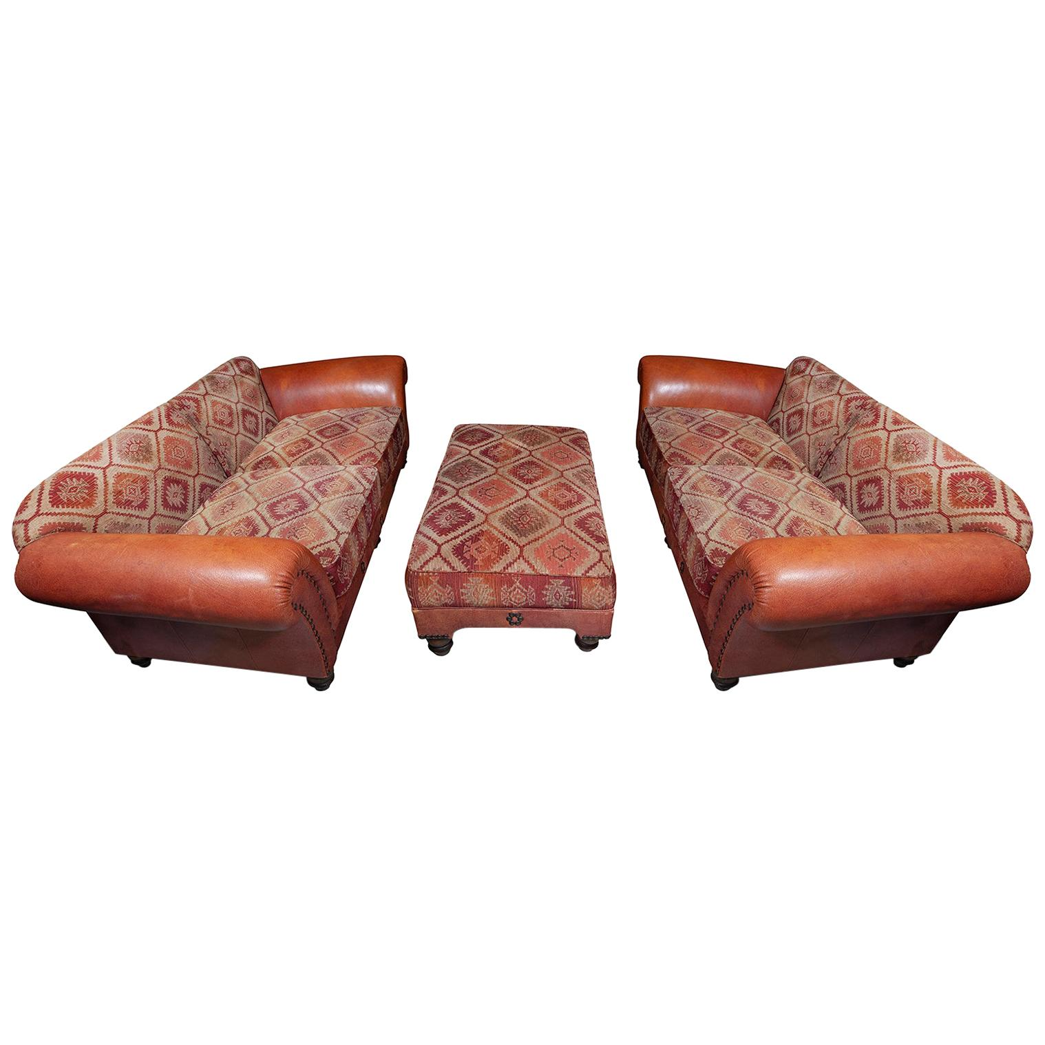 Sofa Settee 3-Seat Pair of Ottoman Leather Kelim Country House, 1980s