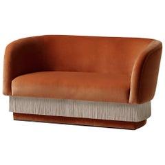 Sofa Settee with Soft Terracotta Velvet and Silk Fringes La Folie