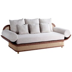 Sofa Settee with Textured Fabric, Natural Walnut and Brass Details Majestic