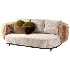 Sofa Settee with Weaved Texture and Lamb Fur Single Man