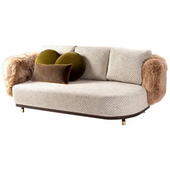 Sofa Settee with Weaved Texture and Lamb Fur Single Man, in Stock
