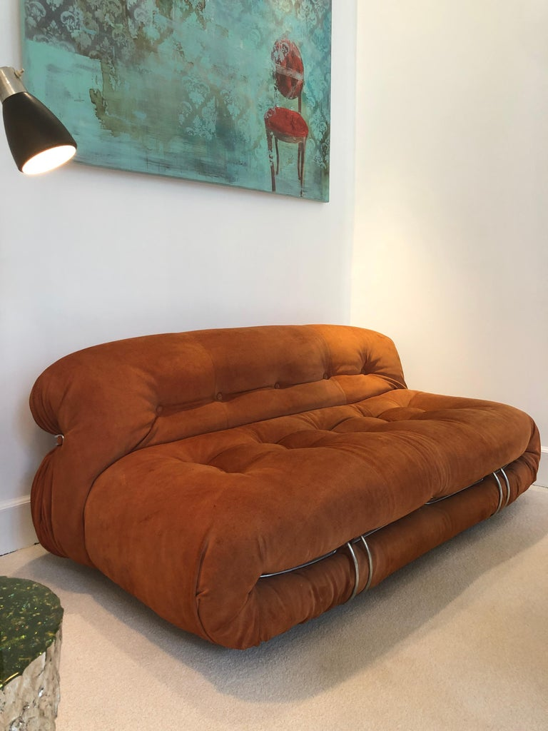 Sofa Soriana from Afra & Tobia Scarpa Edited by Cassina, 1970s Burnt Orange In Good Condition In Paris, France