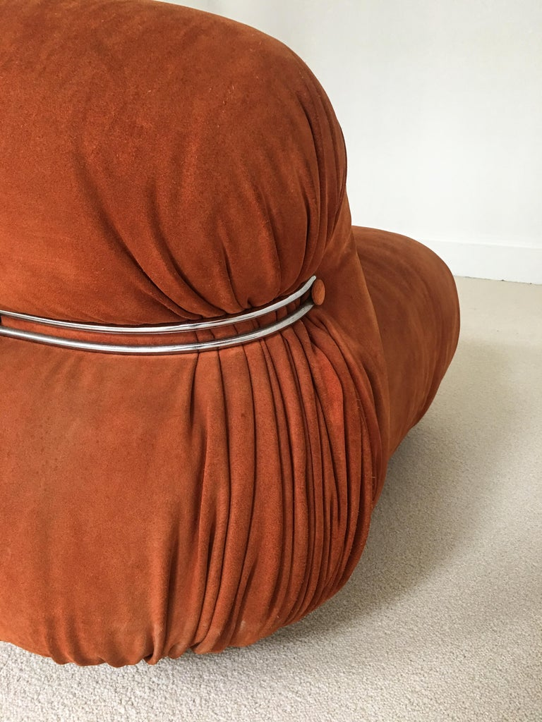 Leather Sofa Soriana from Afra & Tobia Scarpa Edited by Cassina, 1970s Burnt Orange