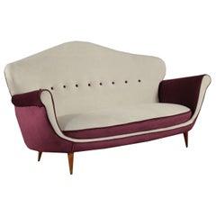 Sofa Spring Foam Velvet, Italy, 1950s