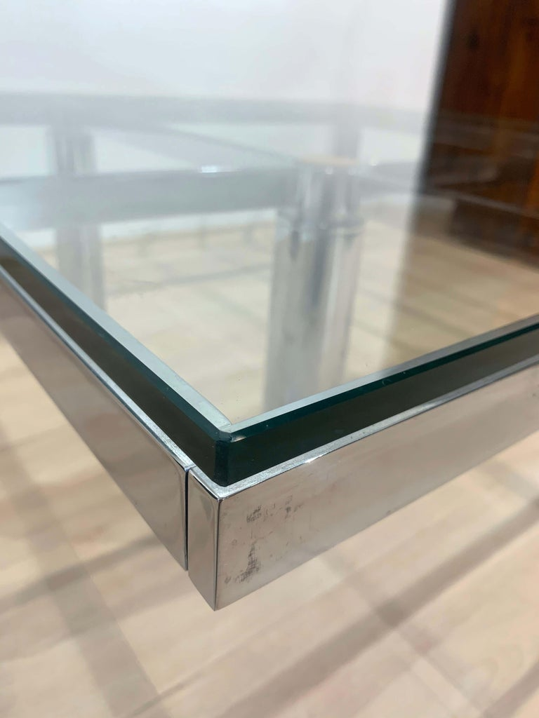 Sofa Table 'Andre' by Afra & Tobia Scarpa, Chromed and Glass, Italy, circa 1970 For Sale 3